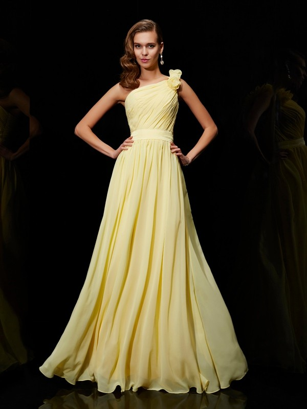 A-Linie/Princess-Stil Chiffon One-Shoulder-Träger Brautjungfernkleider