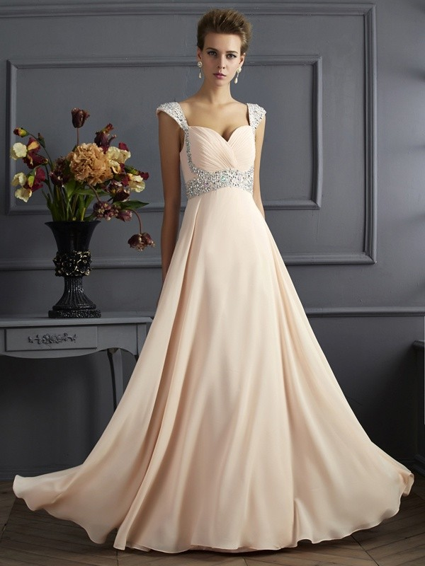 A-Line/Princess Straps Sleeveless Long Beading Chiffon Dresses