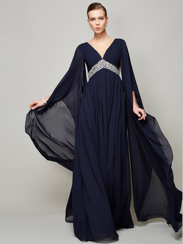 A-Line/Princess V-neck Long Sleeves Beading Long Chiffon Dresses