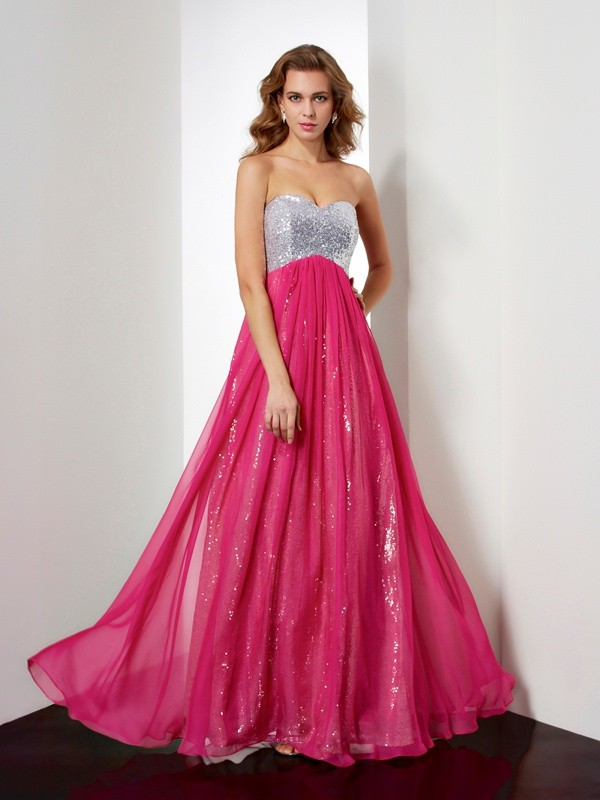 A-Line/Princess Sleeveless Beading Sweetheart Long Chiffon Dresses