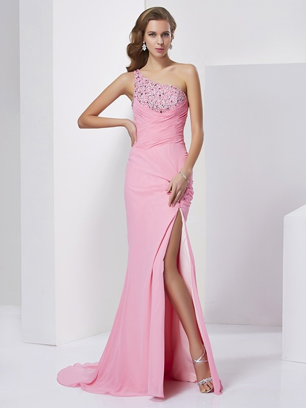 Sheath/Column Sweetheart Sleeveless Beading Long Chiffon Dresses