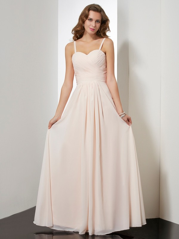 Sheath/Column Spaghetti Straps Sleeveless Ruffles Long Chiffon Dresses
