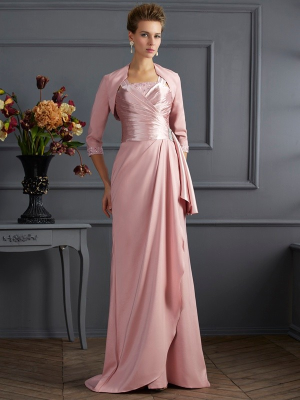 Sheath/Column Straps Sleeveless Long Elastic Woven Satin Mother of the Bride Dresses