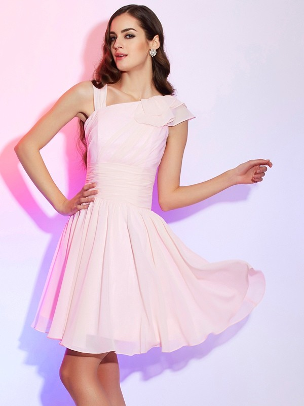 A-Line/Princess Sleeveless Pleats Short Chiffon Dresses