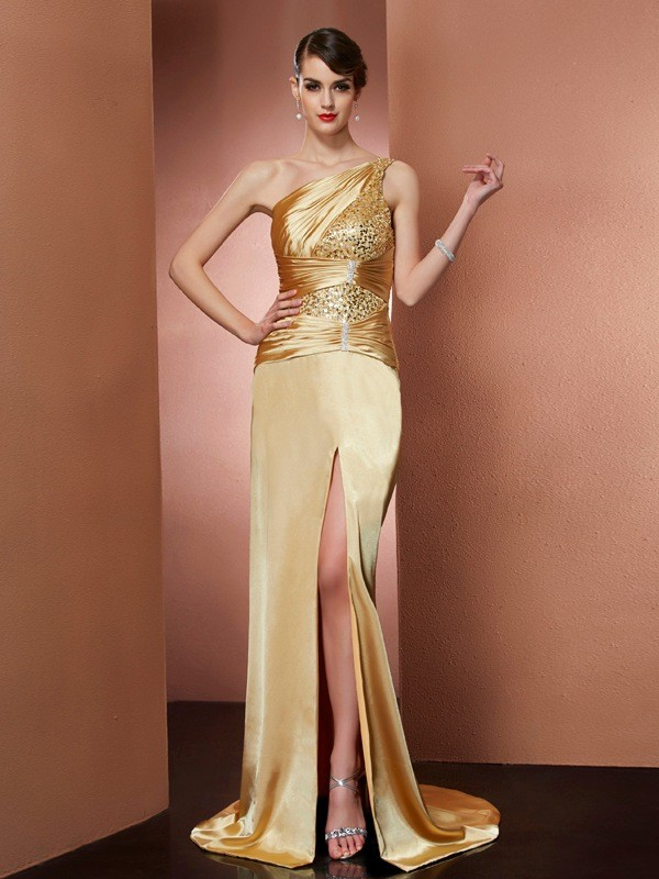 Sheath/Column One-Shoulder Sleeveless Beading Long Elastic Woven Satin Dresses