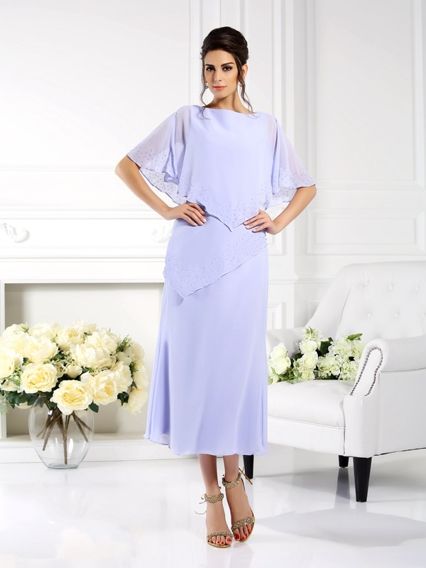 Sheath/Column Bateau 1/2 Sleeves Long Chiffon Mother of the Bride Dresses