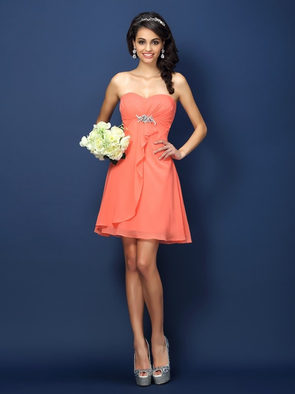 A-Line/Princess Sweetheart Beading Sleeveless Short Chiffon Bridesmaid Dresses