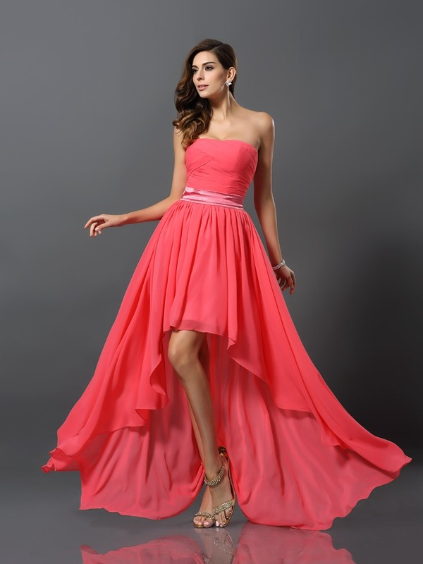 A-Line/Princess Sweetheart Sleeveless High Low Chiffon Bridesmaid Dresses