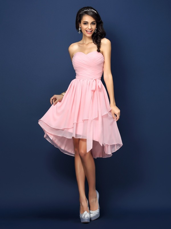 A-Line/Princess Sweetheart Pleats Bowknot Sleeveless Short Chiffon Bridesmaid Dresses