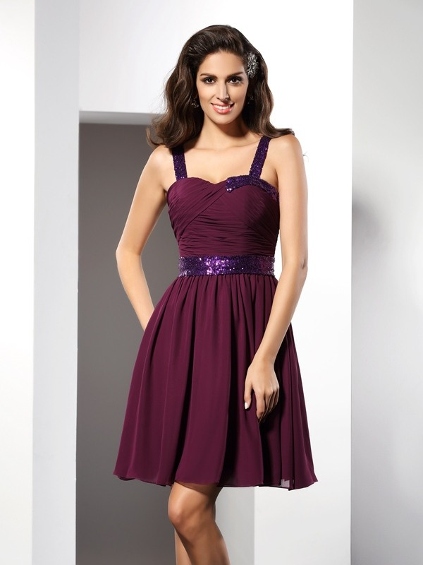 A-Line/Princess Straps Ruched Sleeveless Short Chiffon Cocktail Dresses