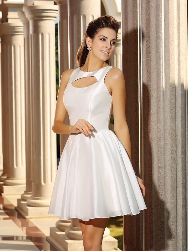 A-Line/Princess High Neck Sleeveless Short Satin Cocktail Dresses