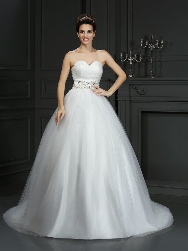 Ball Gown Sweetheart Beading Sleeveless Long Net Wedding Dresses