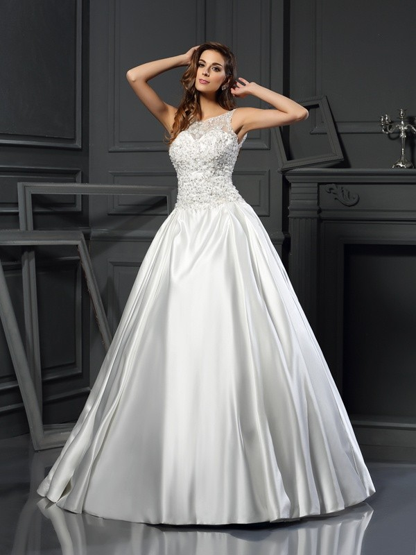 Ball Gown Scoop Applique Sleeveless Long Satin Wedding Dresses
