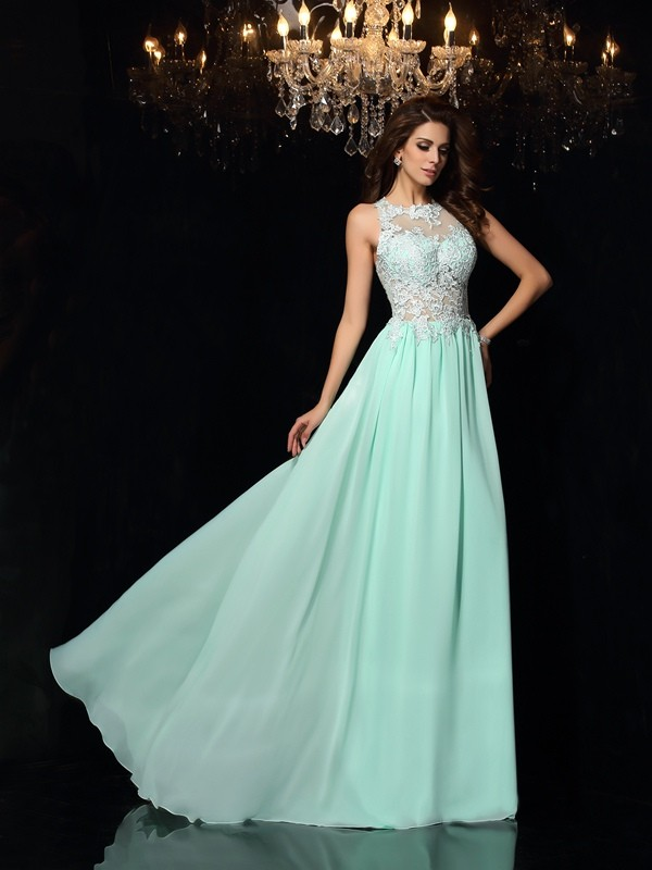A-Line/Princess High Neck Applique Sleeveless Long Chiffon Dresses