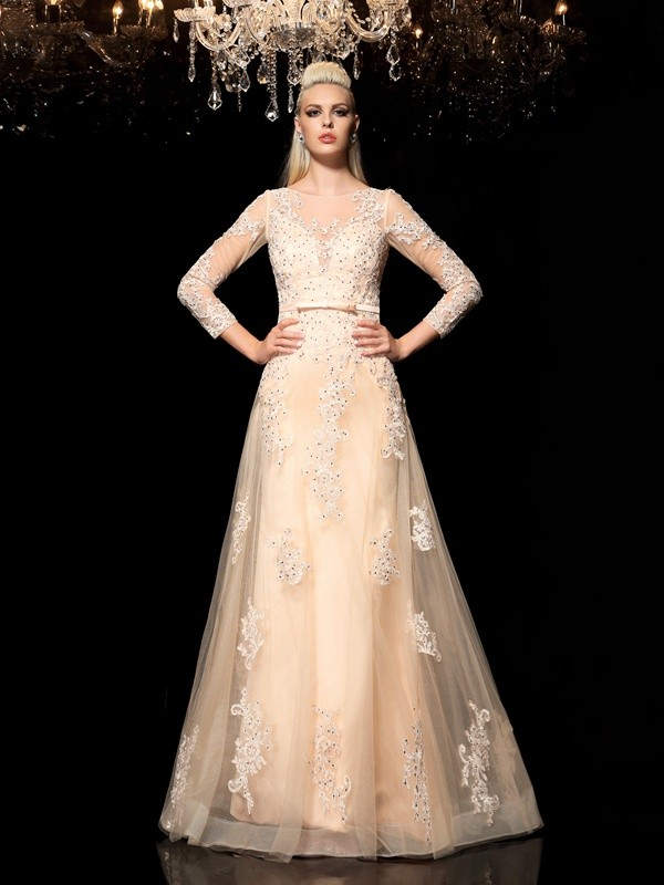 A-Line/Princess Sheer Neck Applique Long Sleeves Long Satin Dresses