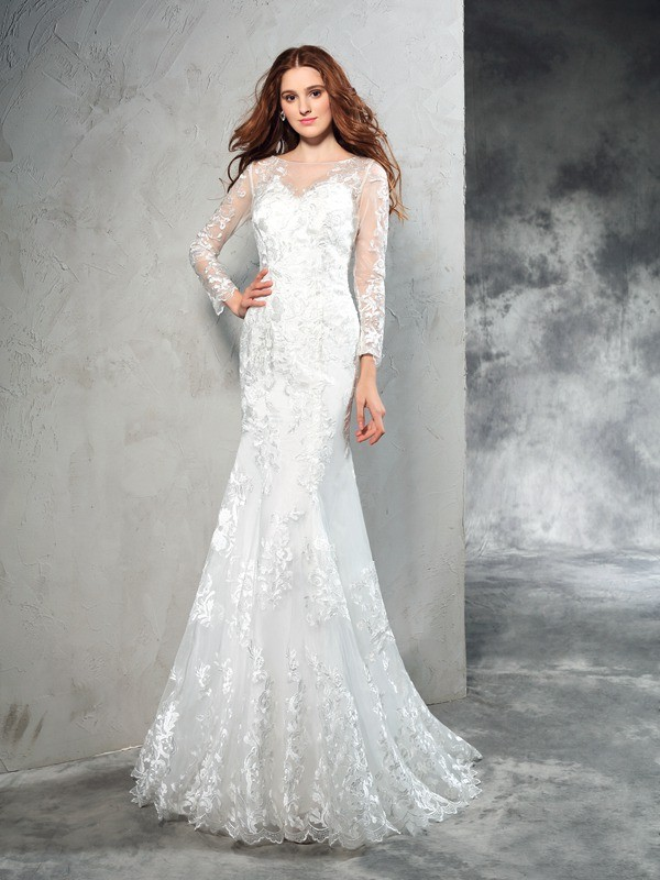 Sheath/Column Sheer Neck Lace Long Sleeves Long Net Wedding Dresses