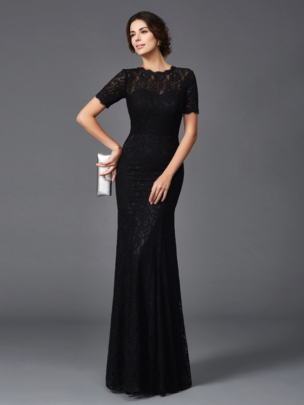Sheath/Column Jewel Lace Short Sleeves Long Elastic Woven Satin Mother of the Bride Dresses