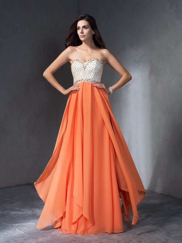 A-Line/Princess Beading Sweetheart Sleeveless Long Chiffon Dresses