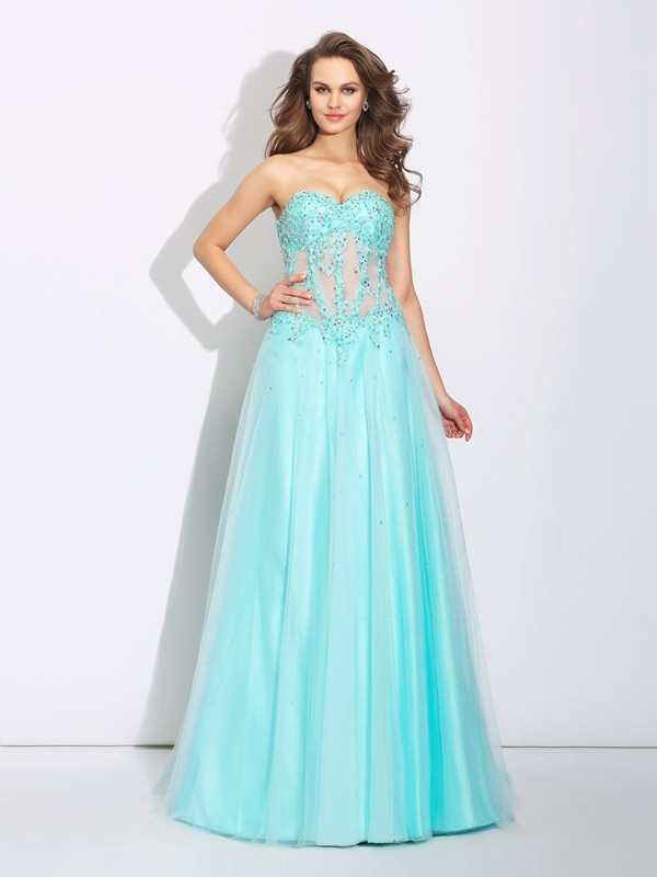 A-Line/Princess Sweetheart Lace Sleeveless Long Net Dresses