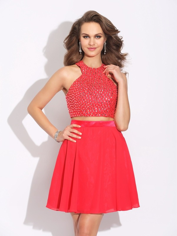 A-Line/Princess Jewel Crystal Sleeveless Short Chiffon Two Piece Dresses