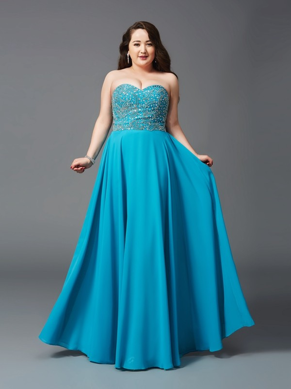 A-Line/Princess Sweetheart Beading Sleeveless Long Chiffon Plus Size Dresses
