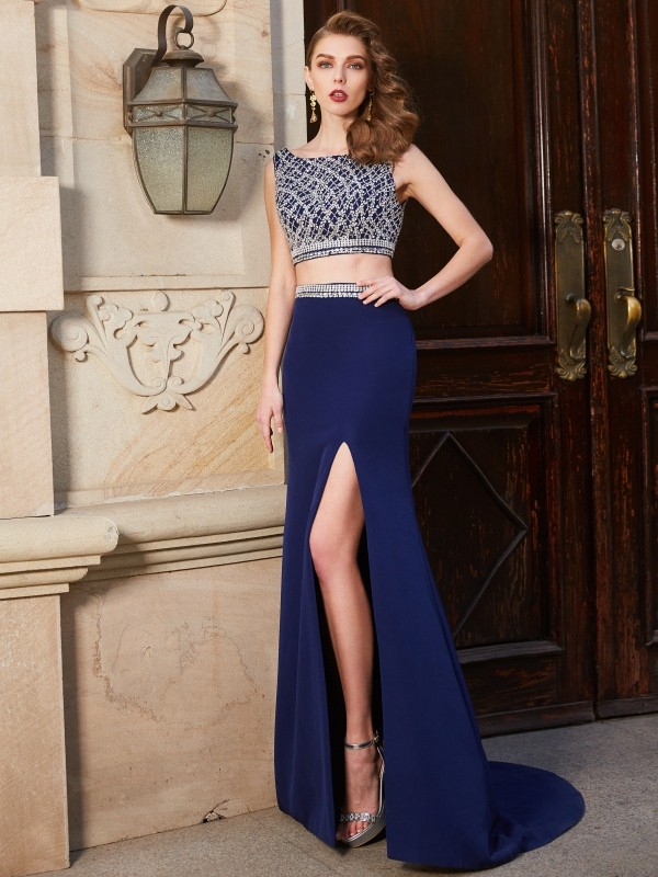 Sheath/Column Bateau Sleeveless Sweep/Brush Train Beading Elastic Woven Satin Two Piece Dresses
