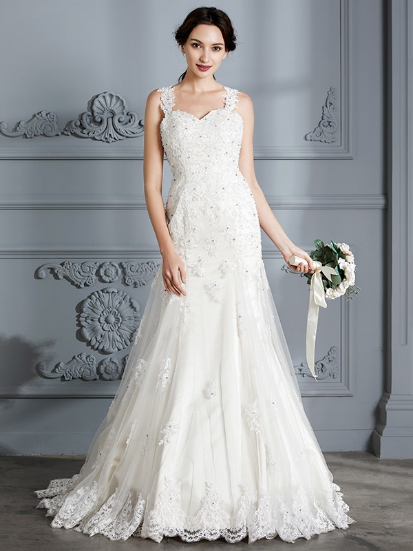 Mermaid Sweetheart Sleeveless Lace Court Train Wedding Dresses