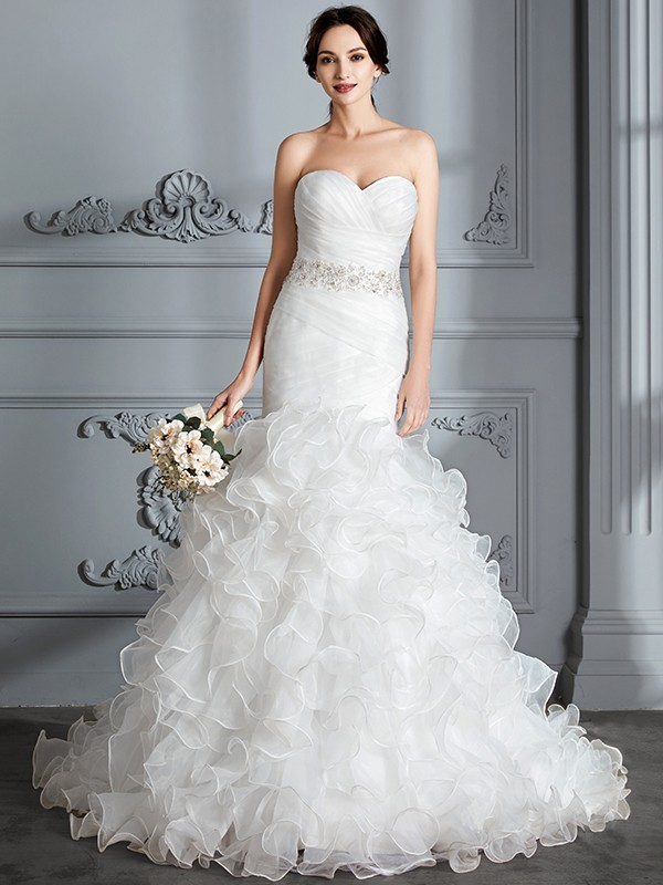 Mermaid Sweetheart Sleeveless Ruffle Sweep/Brush Train Satin Wedding Dresses
