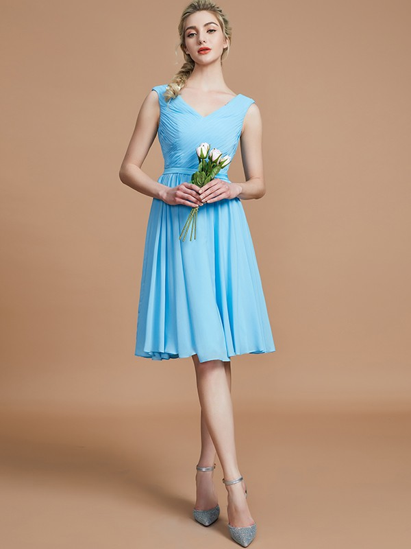 A-Line V-neck Sleeveless Ruched Short/Mini Chiffon Bridesmaid Dresses