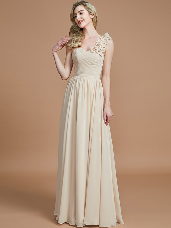 A-Line One-Shoulder Sleeveless Floor-Length Chiffon Bridesmaid Dresses