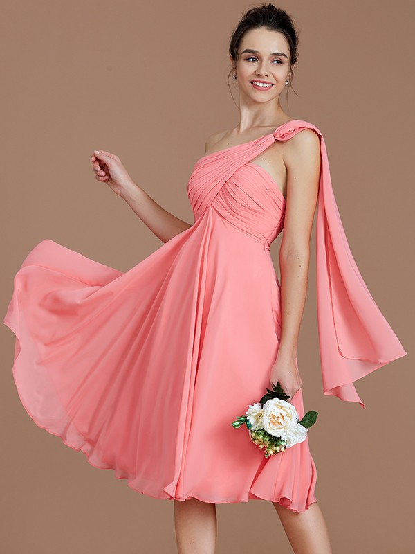 A-Line One-Shoulder Sleeveless Ruched Short/Mini Chiffon Bridesmaid Dresses