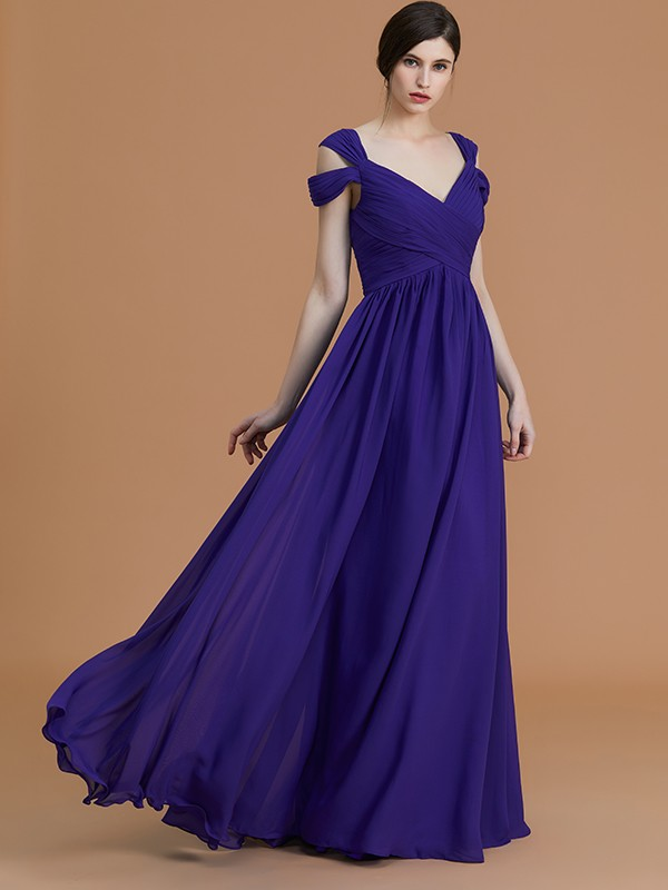 A-Line/Princess Off-the-Shoulder Sleeveless Floor-Length Ruched Chiffon Bridesmaid Dresses
