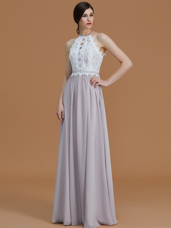A-Line/Princess Halter Sleeveless Floor-Length Lace Chiffon Bridesmaid Dresses