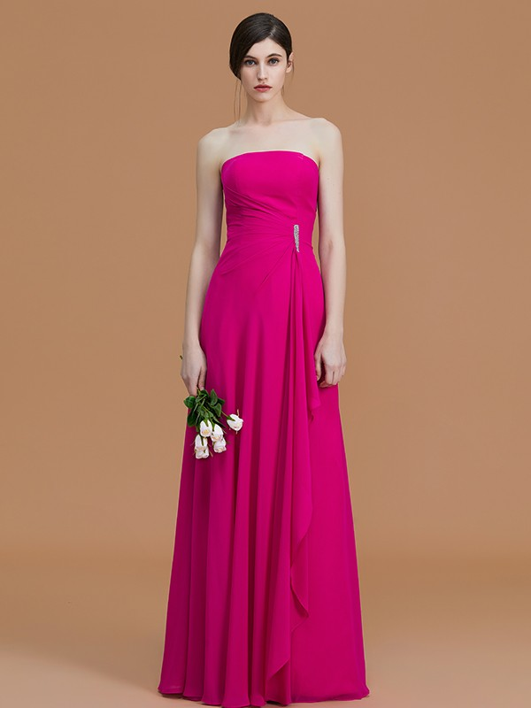 A-Line/Princess Strapless Sleeveless Floor-Length Ruffles Chiffon Bridesmaid Dresses