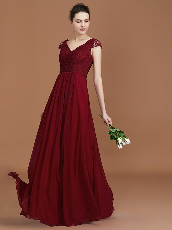 A-Line Lace Short Sleeves Chiffon V-neck Floor-Length Bridesmaid Dress
