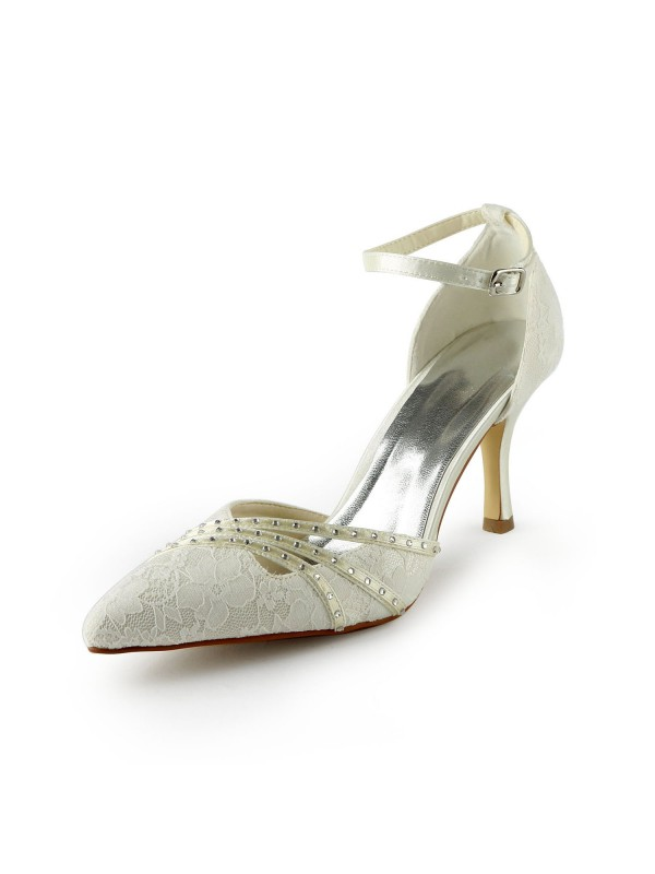 Women's Gauze Stiletto Heels Closed-toe Beading White Wedding Shoes