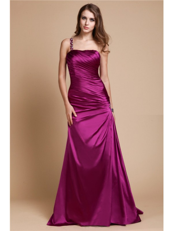 A-Line/Princess One Shoulder Sleeveless Beading Long Elastic Woven Satin Dresses