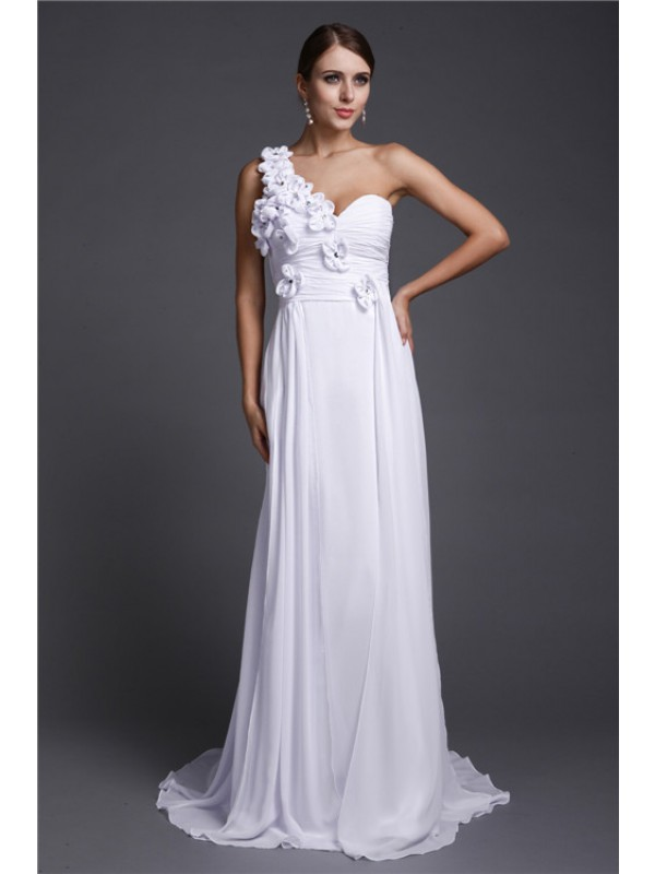 A-Line/Princess One Shoulder Hand-Made Flower Long Sleeveless Chiffon Dresses