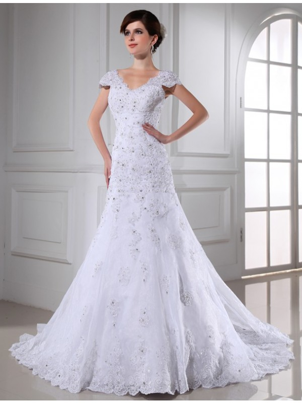 A-Line/Princess V-neck Beading Sleeveless Long Organza Wedding Dresses
