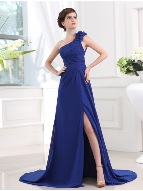A-Line/Princess One-shoulder Sleeveless Pleats Long Chiffon Dresses