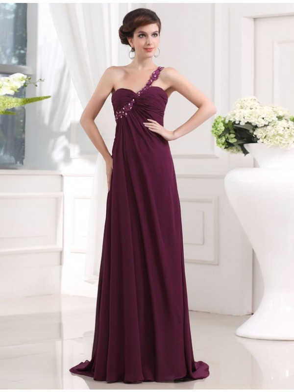 A-Line/Princess Beading One-shoulder Sweetheart Sleeveless Chiffon Long Dresses