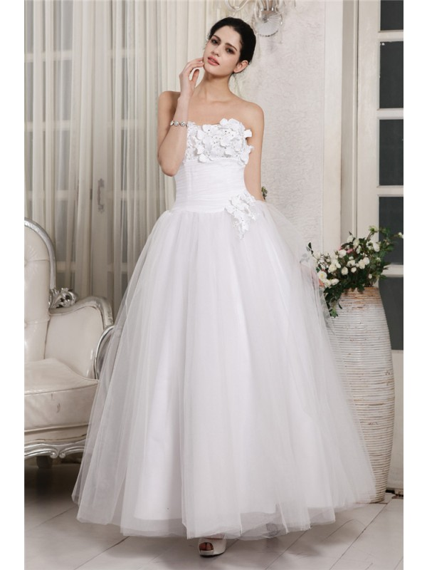 Ball Gown Sweetheart Sleeveless Beading Long Organza Wedding Dresses