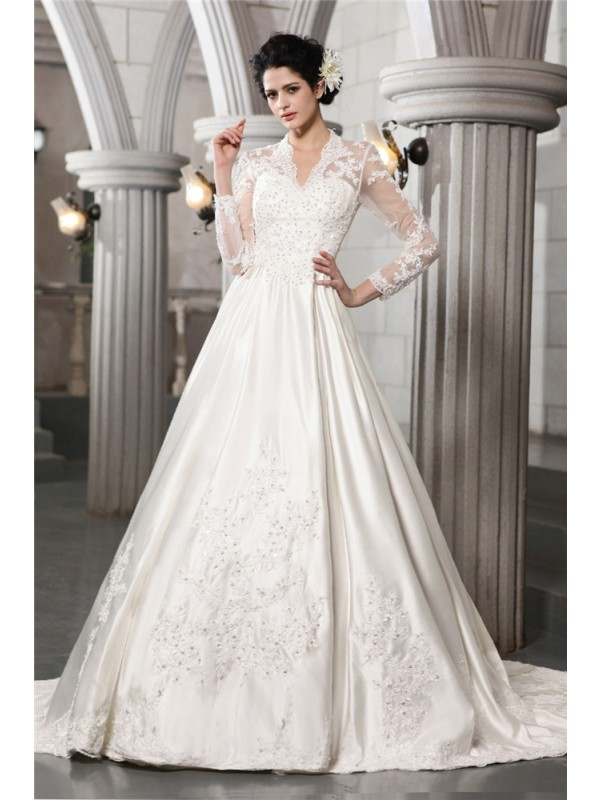 A-Line/Princess Long Sleeves Beading Applique Long Satin Wedding Dresses