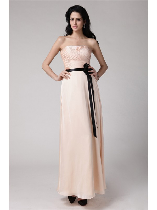 Sheath/Column Strapless Sleeveless Sash Elastic Woven Satin Chiffon Bridesmaid Dresses