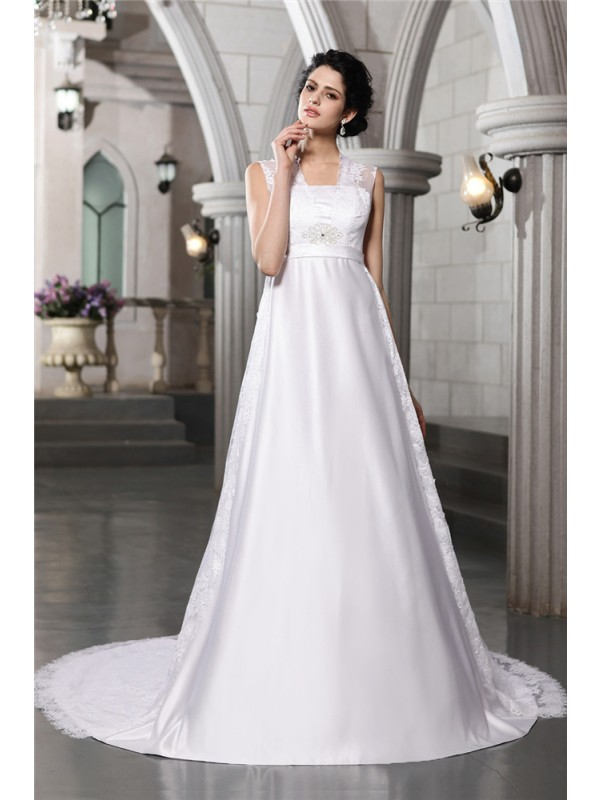 A-Line/Princess Sleeveless Lace Long Satin Wedding Dresses