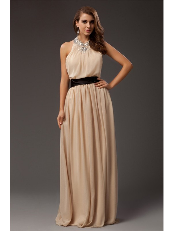 Sheath/Column Jewel Beading Sleeveless Long Chiffon Dresses
