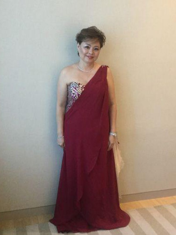 A-Line One-Shoulder Sleeveless Beading Sweep/Brush Train Chiffon Mother Of The Bride Dresses