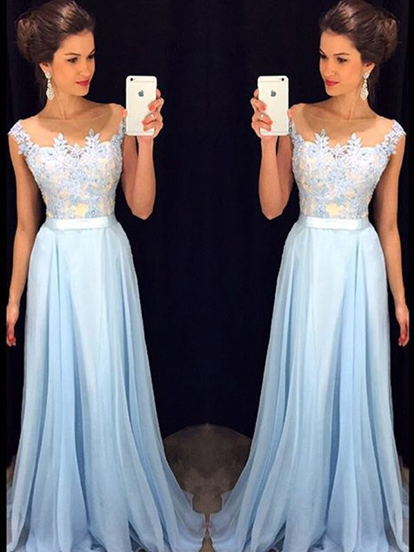 A-Line/Princess Sleeveless Sheer Neck Applique Chiffon Sweep/Brush Train Dresses