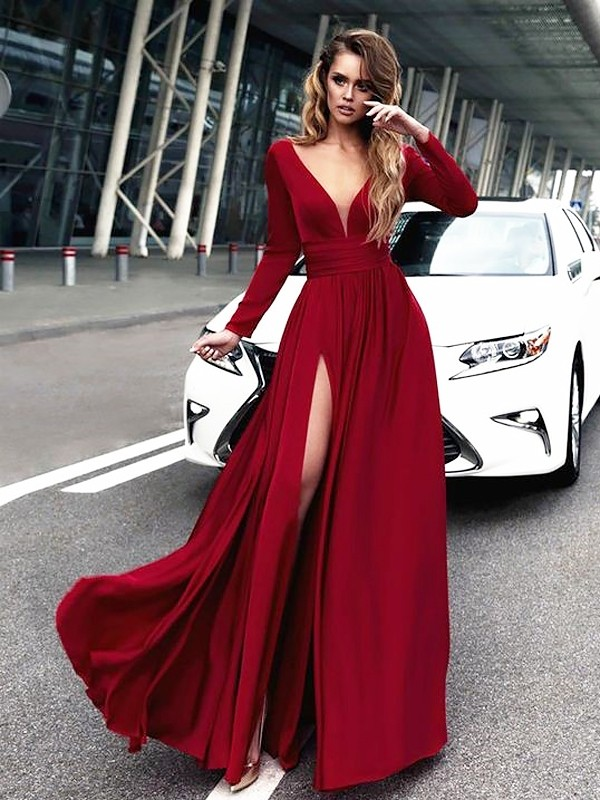 A-Line V-neck Floor-Length Satin Long Sleeves Ruffles Dresses