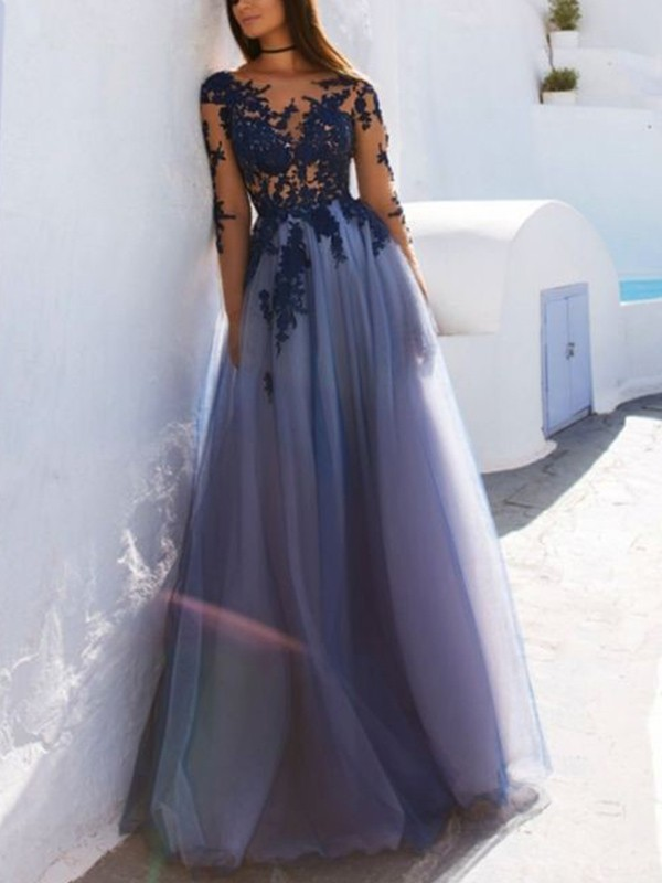 A-Line Scoop Long Sleeves Floor-Length Applique Tulle Dresses